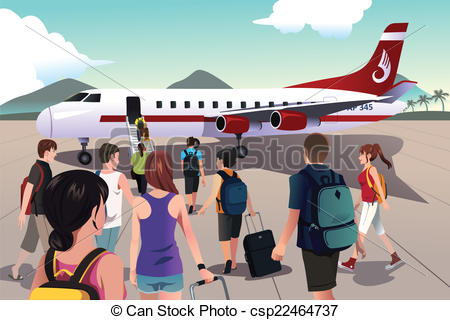 Clipartfest tourists on a. Boarding the plane clipart
