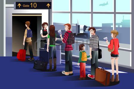 Boarding the plane clipart.  stock vector illustration
