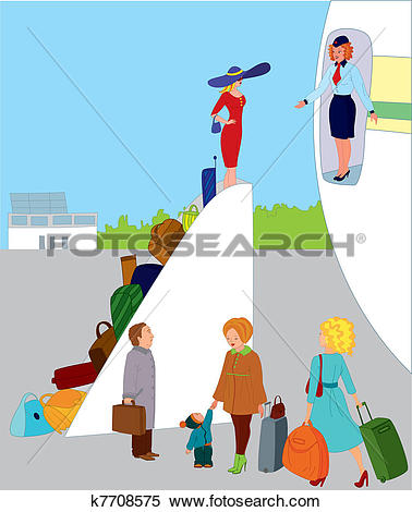 Of on k search. Boarding the plane clipart