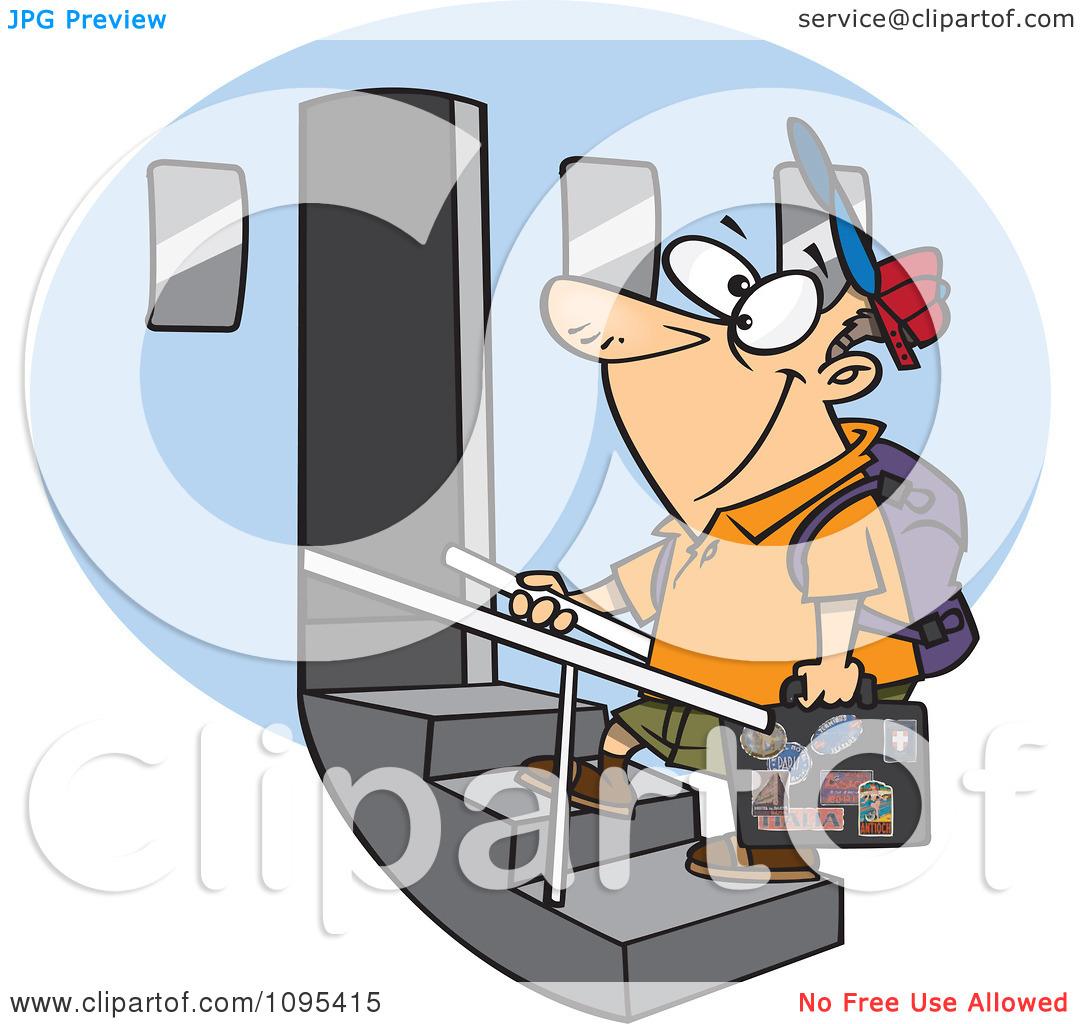 Boarding the plane clipart. Cartoon tourist man an