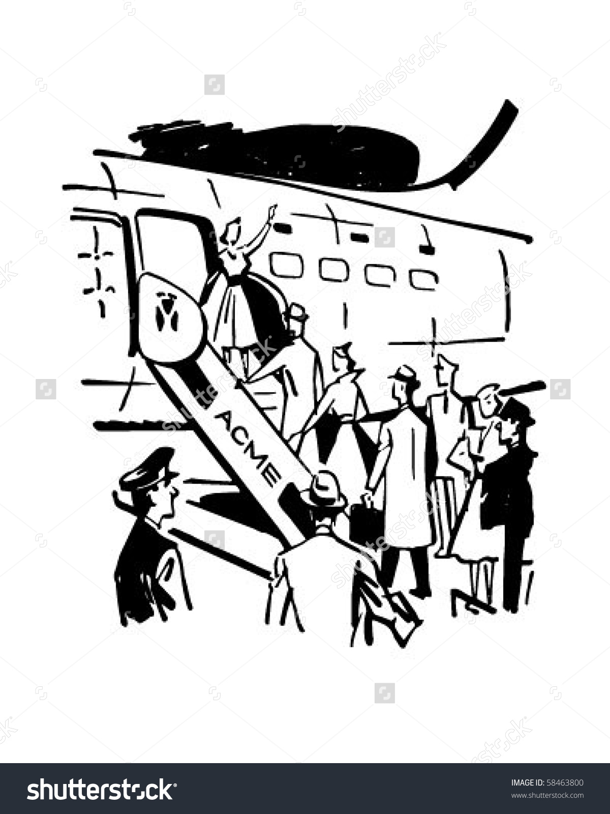 Retro clip art stock. Boarding the plane clipart