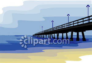 Pier clipart graphic black and white Pier Boardwalk In the Ocean - Royalty Free Clipart Picture graphic black and white