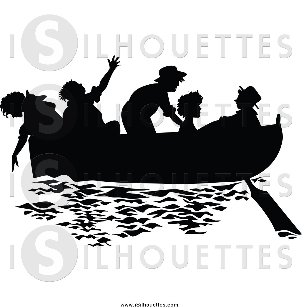 Boat crew clipart freeuse download Clipart of Silhouetted Children in a Boat in Black and White by ... freeuse download