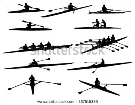 Boat crew clipart image free download rowing silhouettes - stock vector | entrenamiento | Rowing, Boat ... image free download
