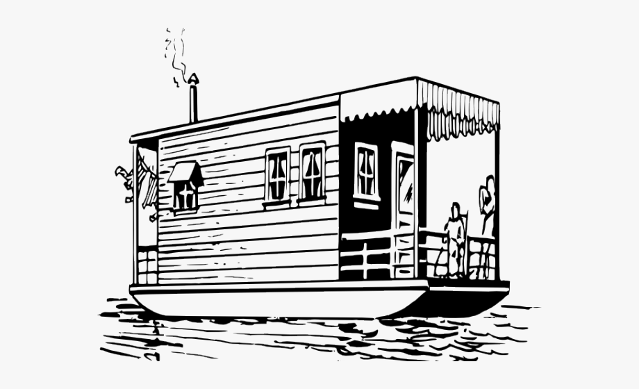 Boat house clipart banner transparent Boat House Clipart Black And White - House Boat Clip Art ... banner transparent