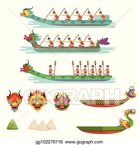 Boat illustrations clipart svg free library Vector Stock - Dragon boats set, team of male athletes compete at ... svg free library