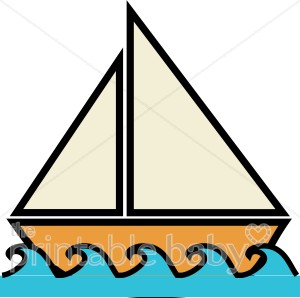 Boat wate clipart image black and white Boat on Water Clipart | Beach Baby Clipart image black and white