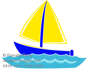 Boat wate clipart graphic royalty free Clip Art Image of Cartoon Boat on Water graphic royalty free