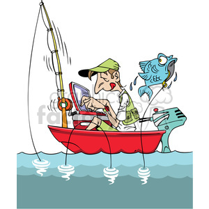 Cartoon fishing boat clipart picture stock cartoon man fishing in a small boat with laptop clipart. Royalty-free  clipart # 387865 picture stock