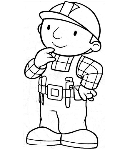 Bob the builder clipart black and white picture free stock Bob The Builder Coloring Pages Colouring For Kids - Free Clipart picture free stock
