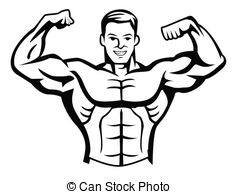 Builders illustrations and bodybuilding. Body bilder clip art