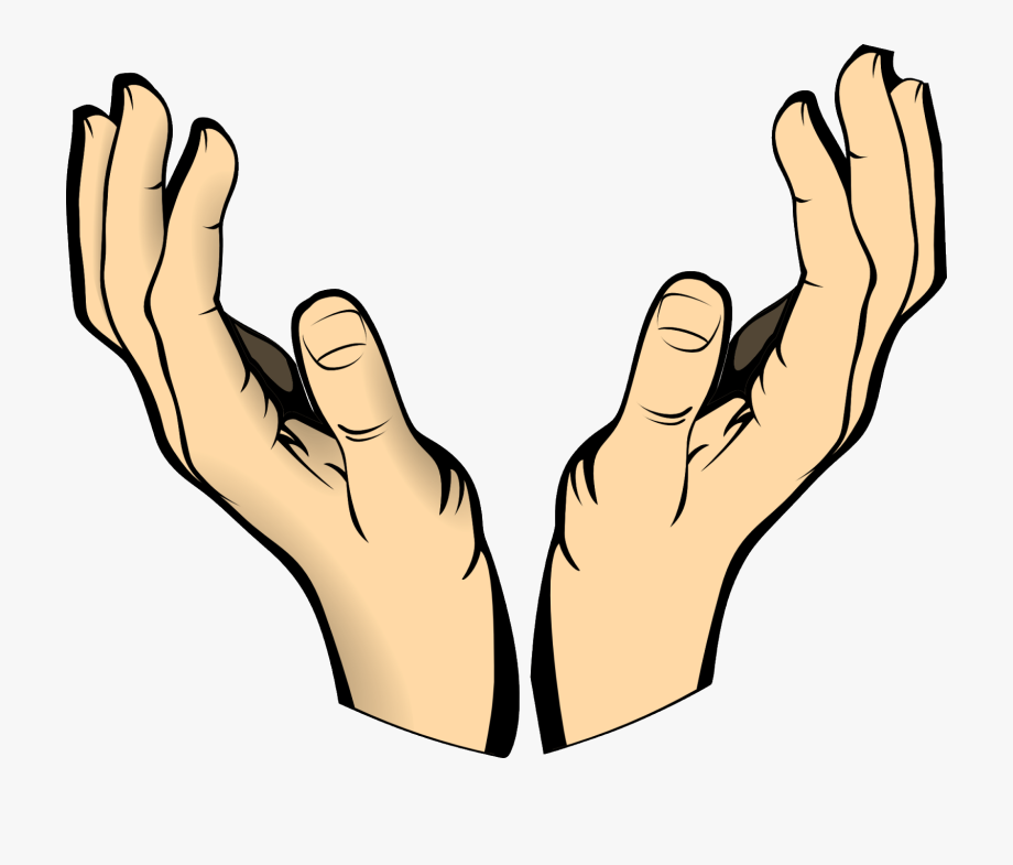 Open hands clipart clip black and white library Hands Human Body Raised Catch Pray - Open Hands Clipart #273710 ... clip black and white library