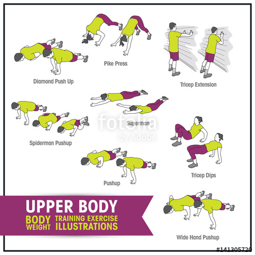Bodyweight exercise clipart clipart free Upper body bodyweight training exercise illustrations\