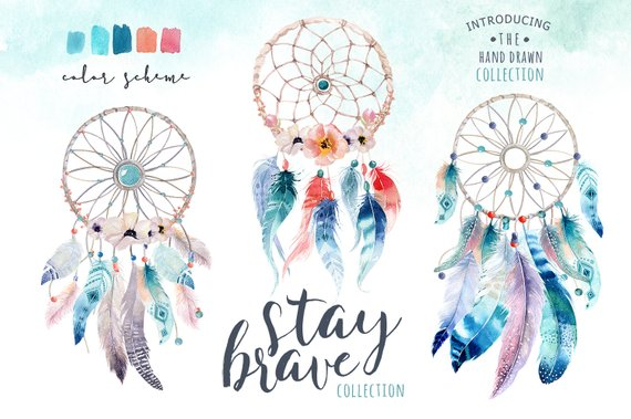 Bohemian colr clipart banner black and white library Watercolor dreamcatcher Bohemian. Clipart tribe. Digital watercolor ... banner black and white library