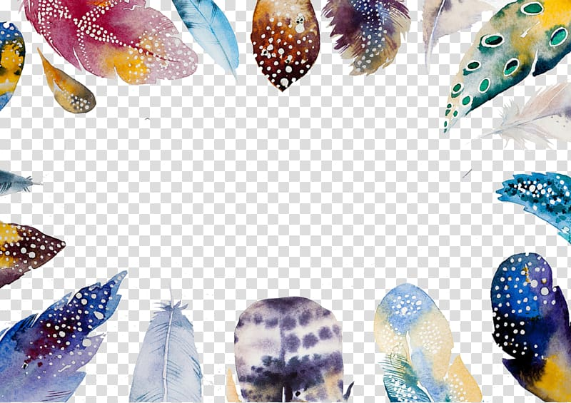 Bohemian colr clipart stock Assorted-color fur illustration, Watercolor painting Feather Boho ... stock