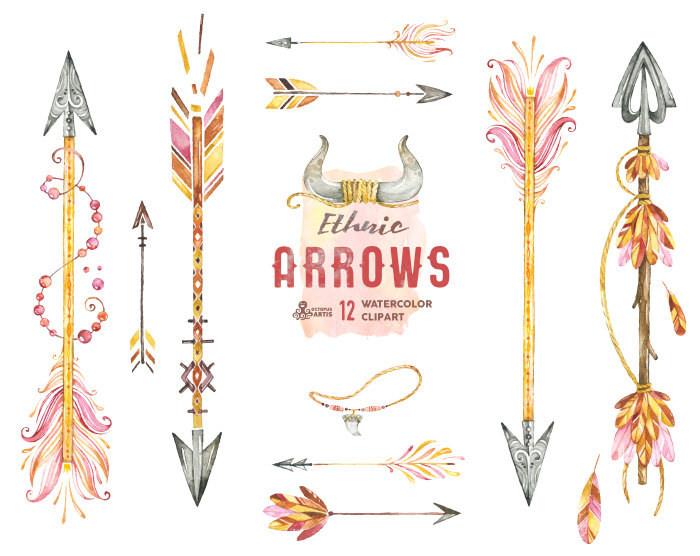 Ethnic arrows watercolor hand. Boho arrow clip art