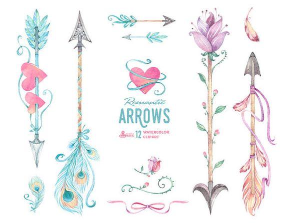 Romantic arrows watercolor clipart. Boho arrow clip art