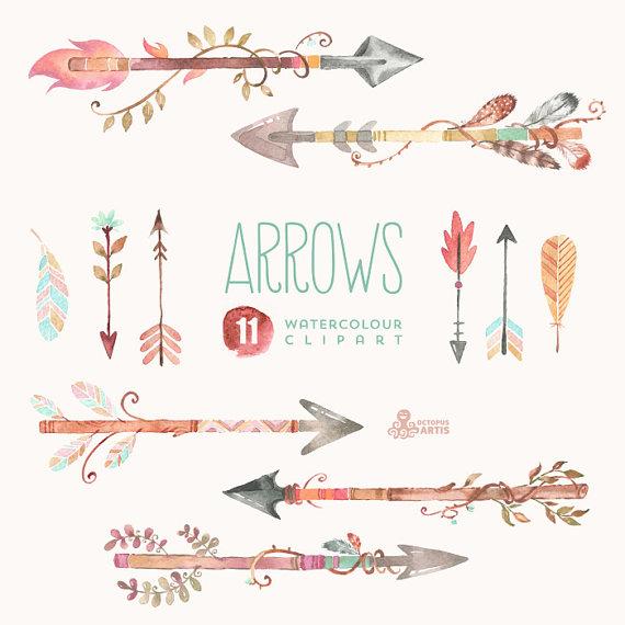 Boho arrow clip art. Arrows watercolor clipart hand