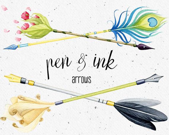 Boho arrow clip art. Watercolor clipart arrows dip