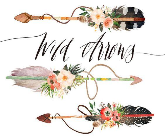 Watercolor wild arrows hand. Boho arrow clip art