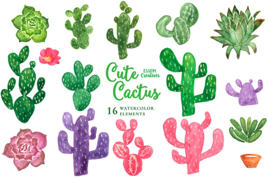 Boho cactus clipart free clip black and white stock Watercolor Cactus Clipart ~ Illustrations ~ Creative Market clip black and white stock