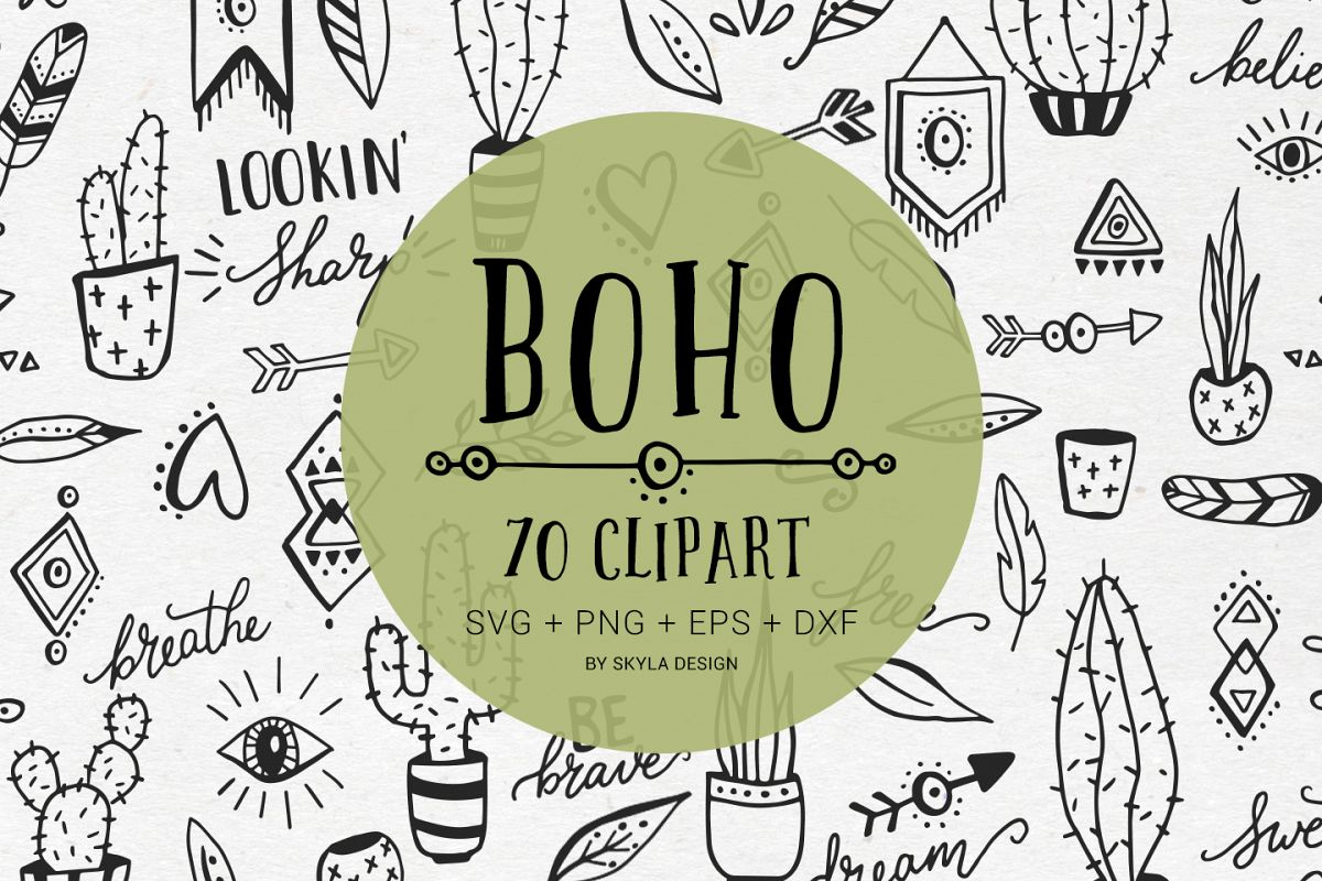 Boho cactus clipart free png free library Boho cactus feather arrow svg clipart doodles png free library