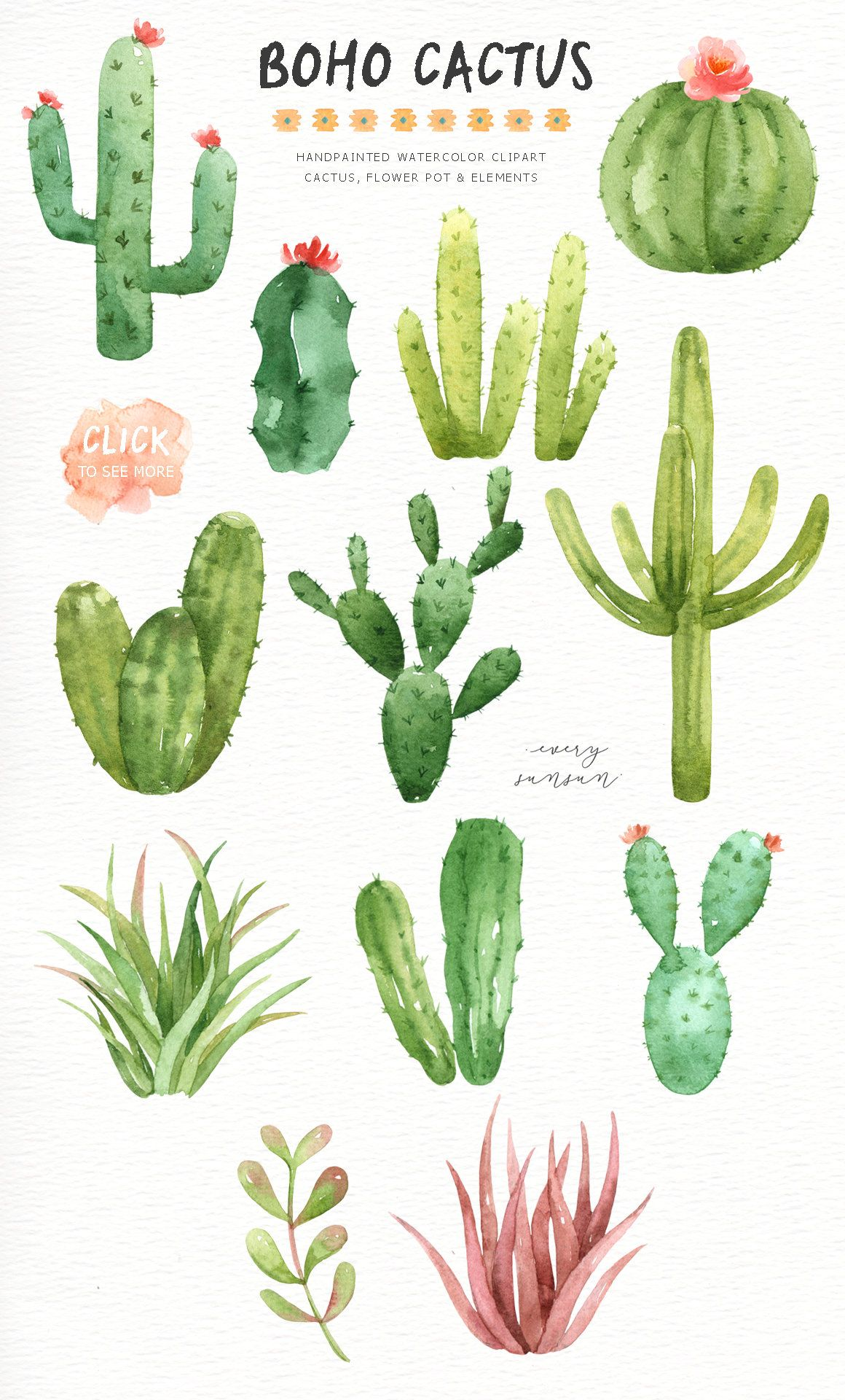 Boho cactus clipart free banner freeuse download Boho Cactus Watercolor Cliparts, Boho Clipart, Botanical Plant ... banner freeuse download