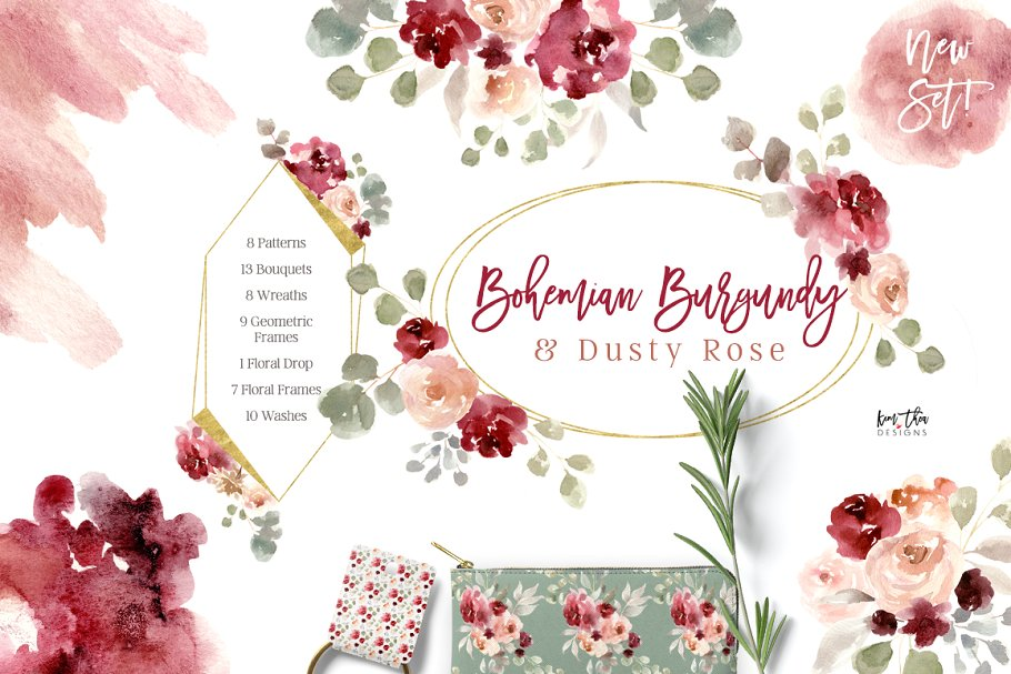Boho chic dusty rose and rose gold wreath clipart jpg freeuse download Bohemian Burgundy & Dusty Rose ~ Illustrations ~ Creative Market jpg freeuse download