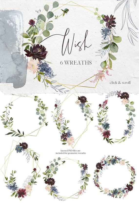 Boho chic dusty rose and rose gold wreath clipart royalty free download Wish Bordo Navy Watercolor Floral Wreaths Geometric Frames Clipart ... royalty free download