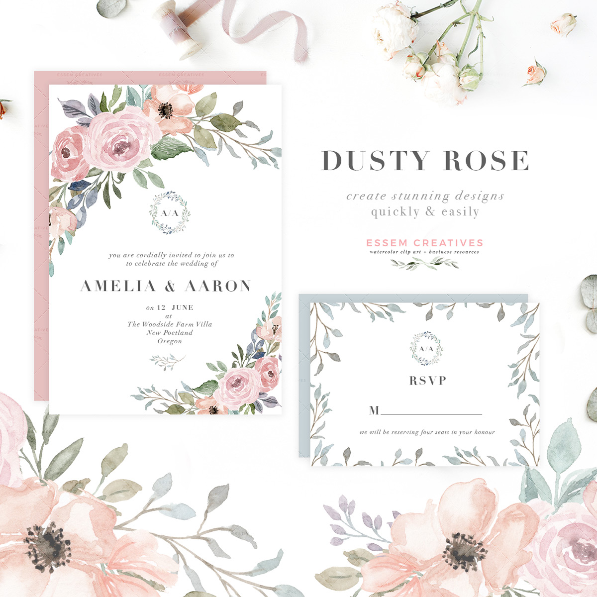Boho chic dusty rose and rose gold wreath clipart png stock Dusty Rose Watercolor Floral Wreath Borders Bouquets png stock
