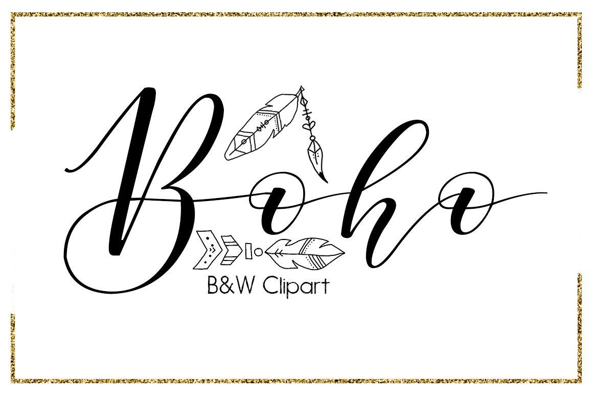 Boho clipart black and white jpg freeuse Boho Brush Strokes-digital clipart-indian clipart-Circle-arrow  clipart-Planner clipart-black and white clipart-feather clipart-outline  Clipart jpg freeuse