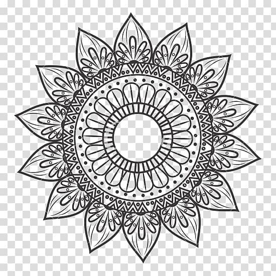 Boho clipart black and white freeuse Brown flower mandala art, White graphics Bohemianism Visual arts ... freeuse