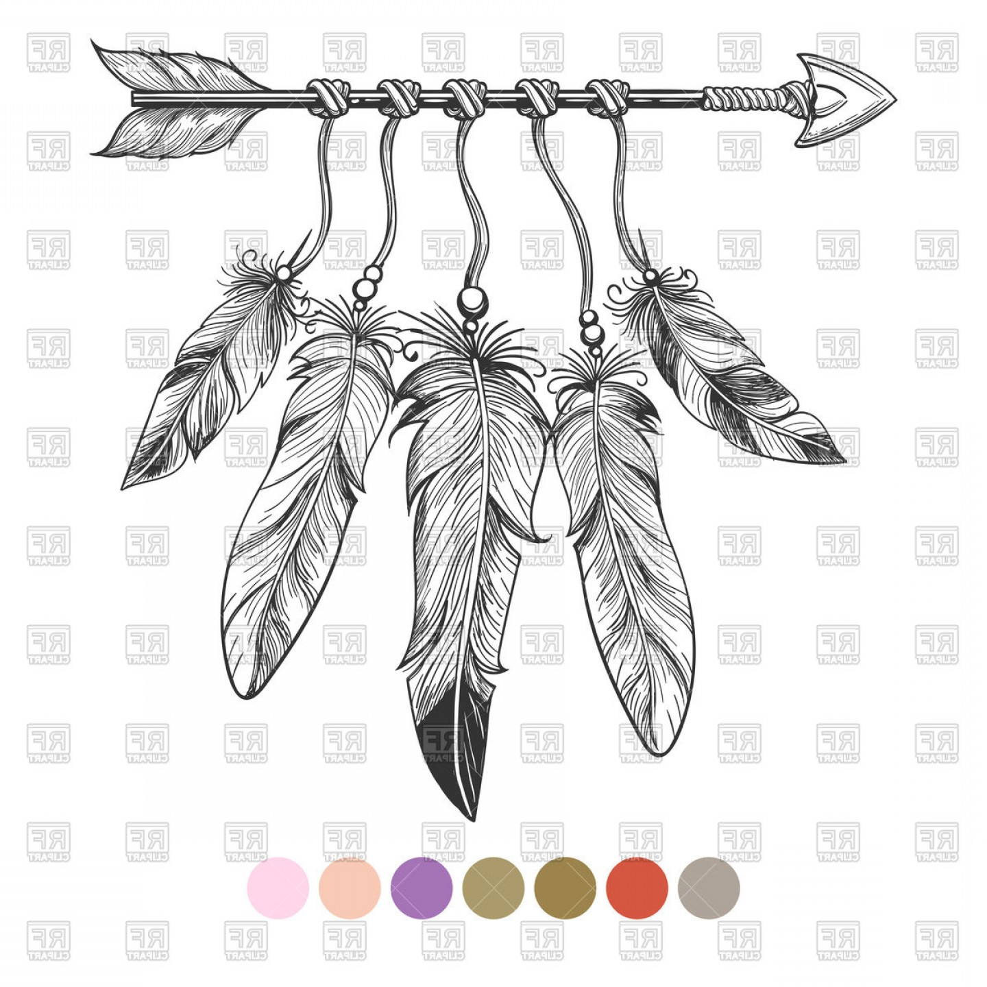 Hand drawn vector clipart black and white download Hand Drawn Boho Element Arrow And Feathers Vector Clipart | HandandBeak black and white download