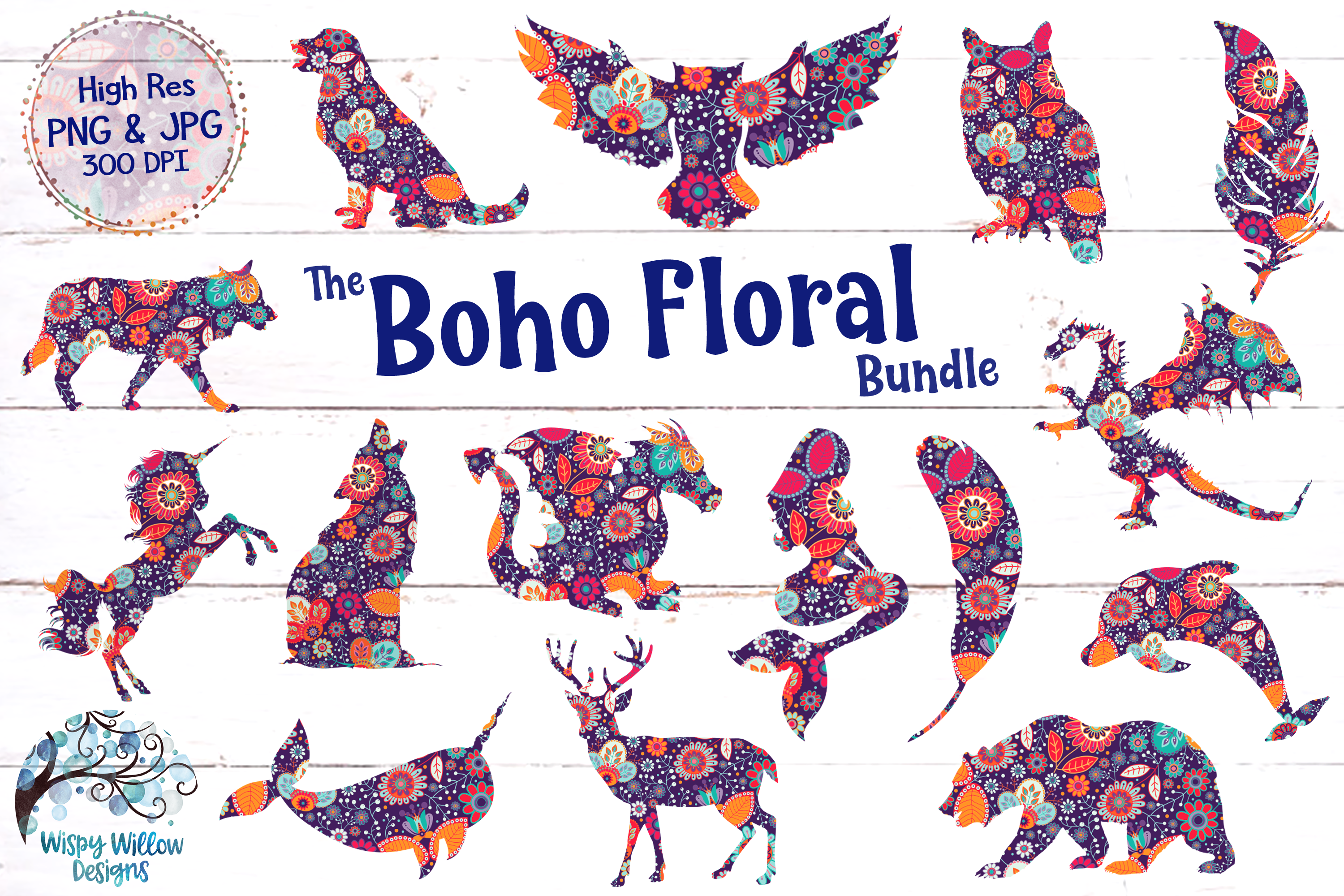 Boho clipart png png library The Boho Floral Clipart Bundle | PNG and JPG | Sublimation png library