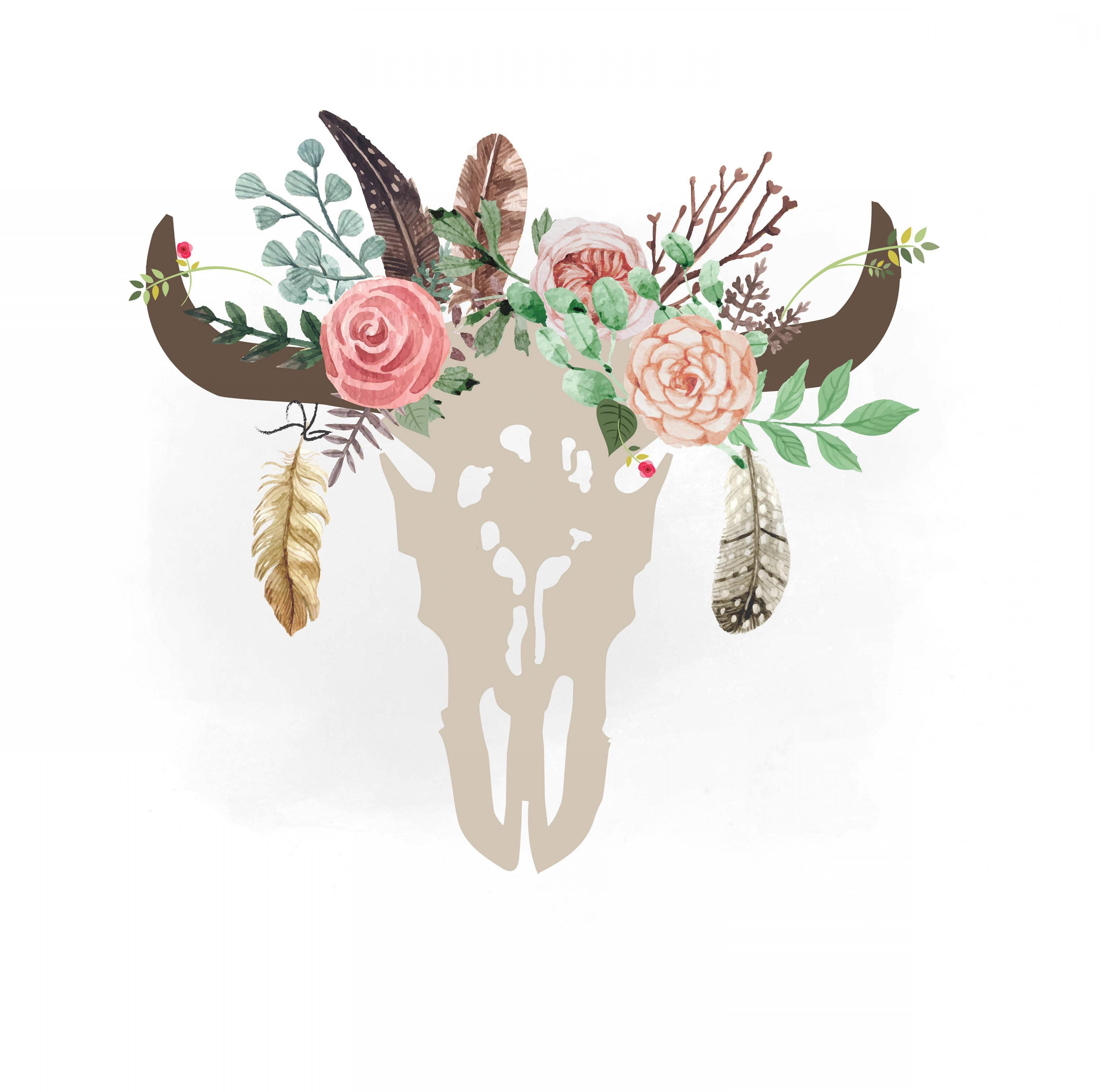 Boho cow skull clipart clipart stock Gypsy Cow Skull Svg Clipart Boho Floral | SOIDERGI clipart stock