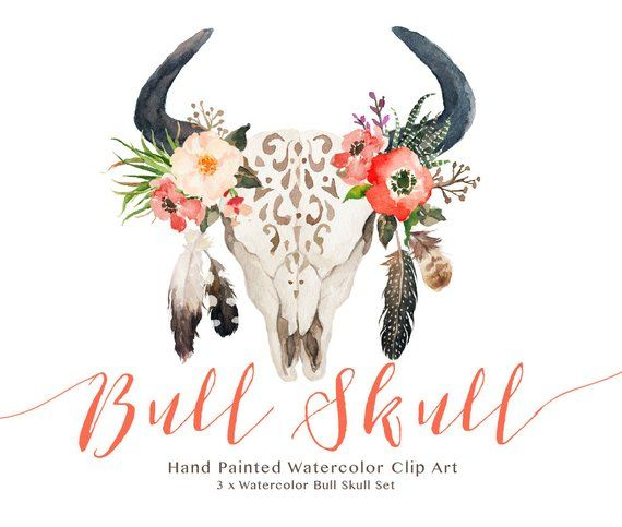 Boho cow skull clipart picture transparent Watercolor bull skull set/Wedding/Clip art collection/Individual PNG ... picture transparent