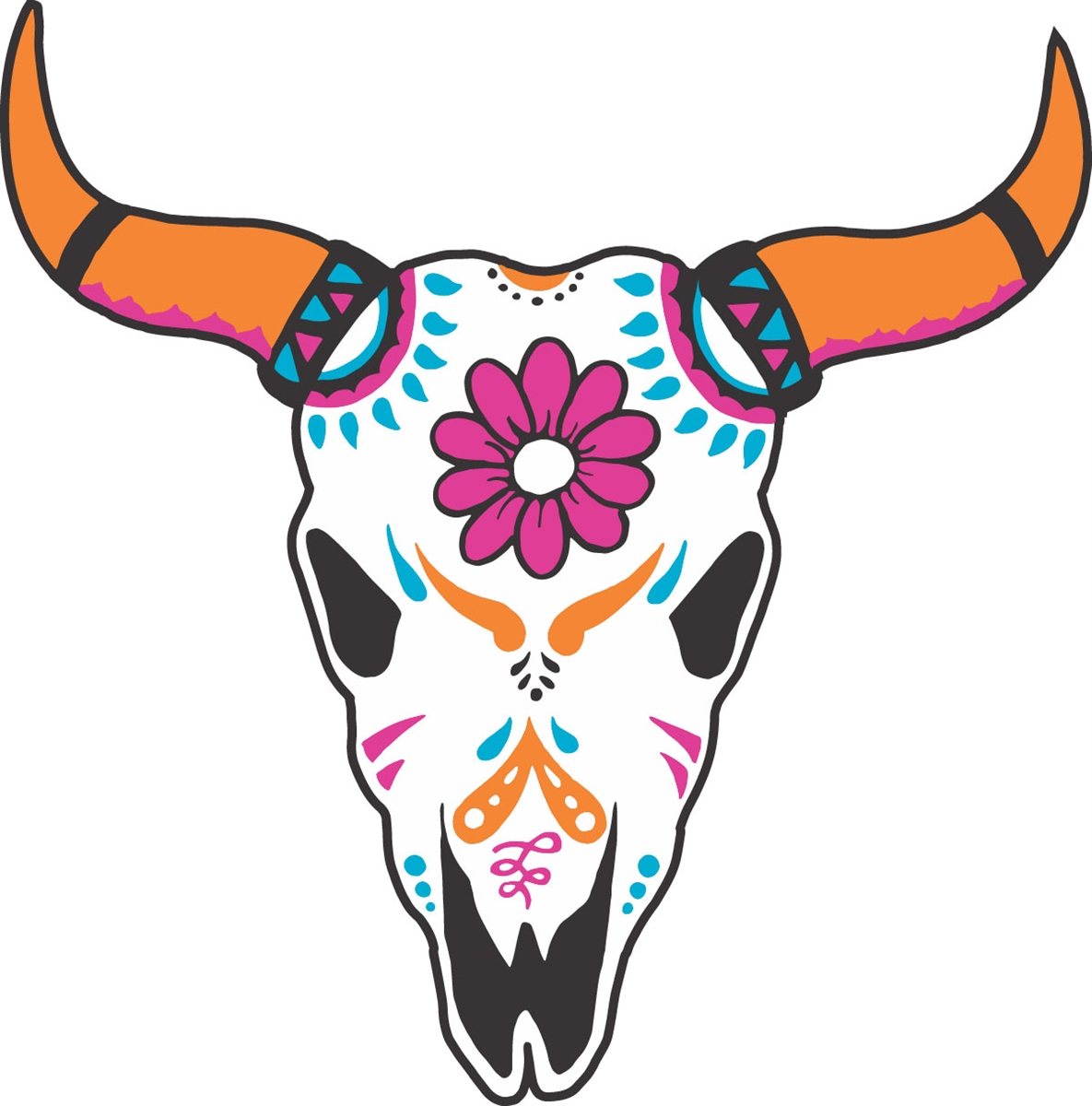 Boho cow skull clipart graphic royalty free library Boho Cow Skull SVG graphic royalty free library