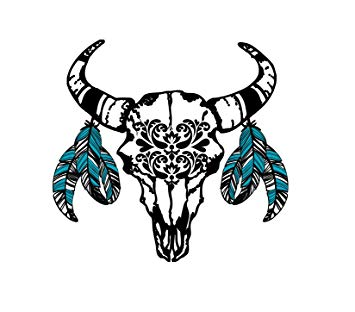 Boho cow skull clipart picture stock Bohemian Western Bull Skull Temporary Tattoo - Realistic Body Art - Gift -  Accessory - Set of 2... picture stock