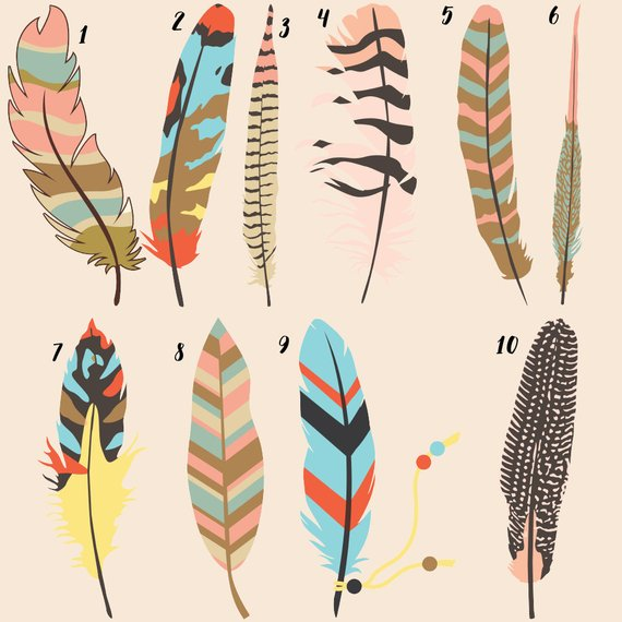 Boho feathers clipart banner black and white Tribal feathers, boho feathers, tribal art print, kids clipart ... banner black and white