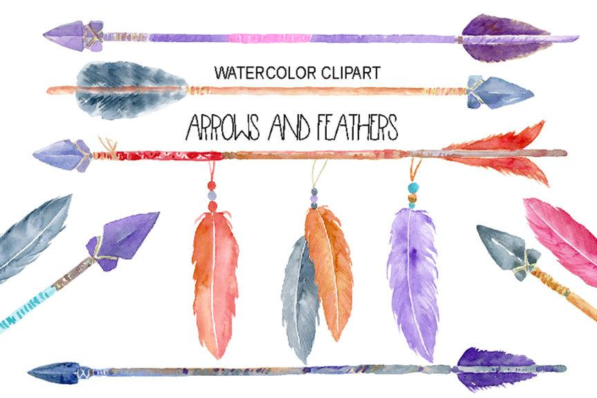 Boho feathers clipart clipart library Watercolor boho native indian arrows and feathers for instant download clipart library