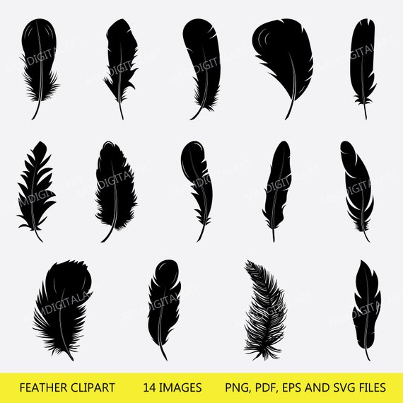 Boho feathers clipart image free stock Feather SVG, Feather Clipart, cricut, Feather silhouette files , SVG ... image free stock