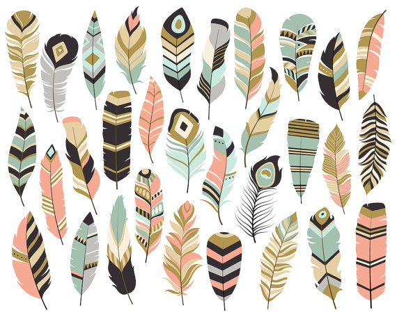 Boho feathers clipart svg download Tribal Feathers Clipart - Set of 31 Vector, PNG & JPG Files - Unique ... svg download