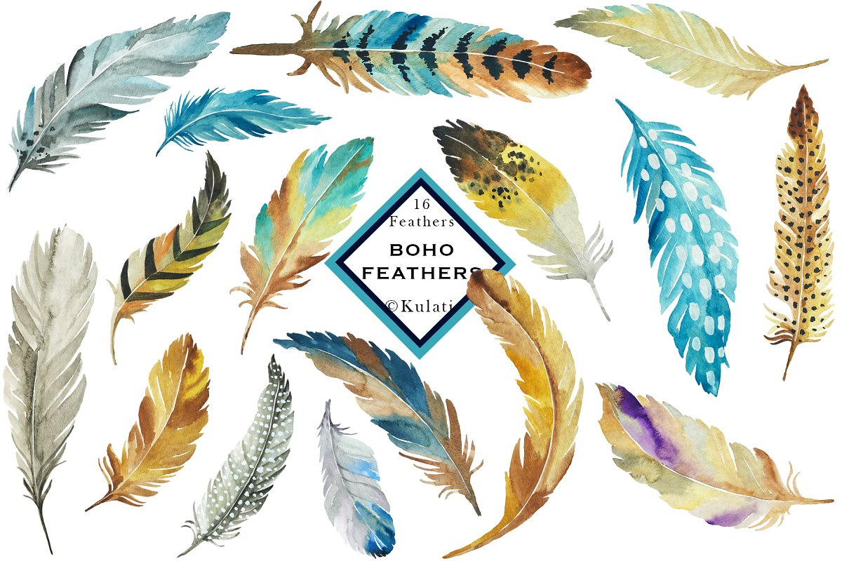 Boho feathers clipart vector Brown and Blue Feather Clip Art vector