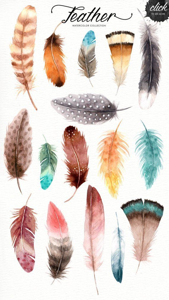 Boho feathers clipart clip royalty free stock Feather Watercolor Collection, Tribal Clipart, American Indian ... clip royalty free stock