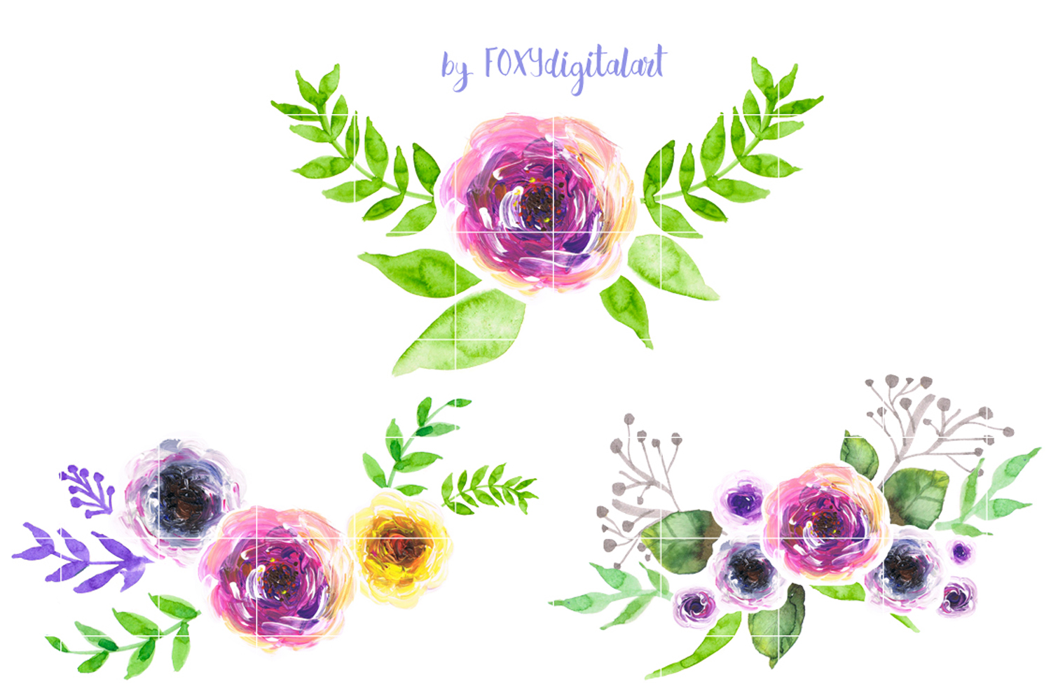 Boho floral clipart graphic stock Watercolor Flowers Wedding Aquarelle Boho Floral Clipart graphic stock