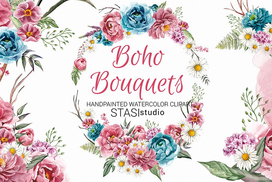 Boho flower bouquet clipart graphic black and white Boho Bouquets Watercolor Clipart graphic black and white
