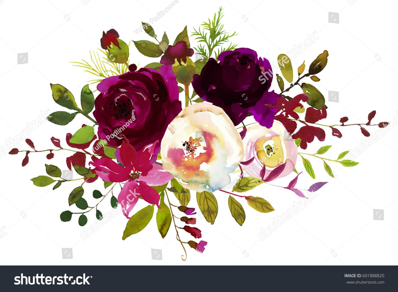 Boho flower bouquet clipart png transparent library images of burgundy flowers clip art | Watercolor Boho Burgundy Red ... png transparent library