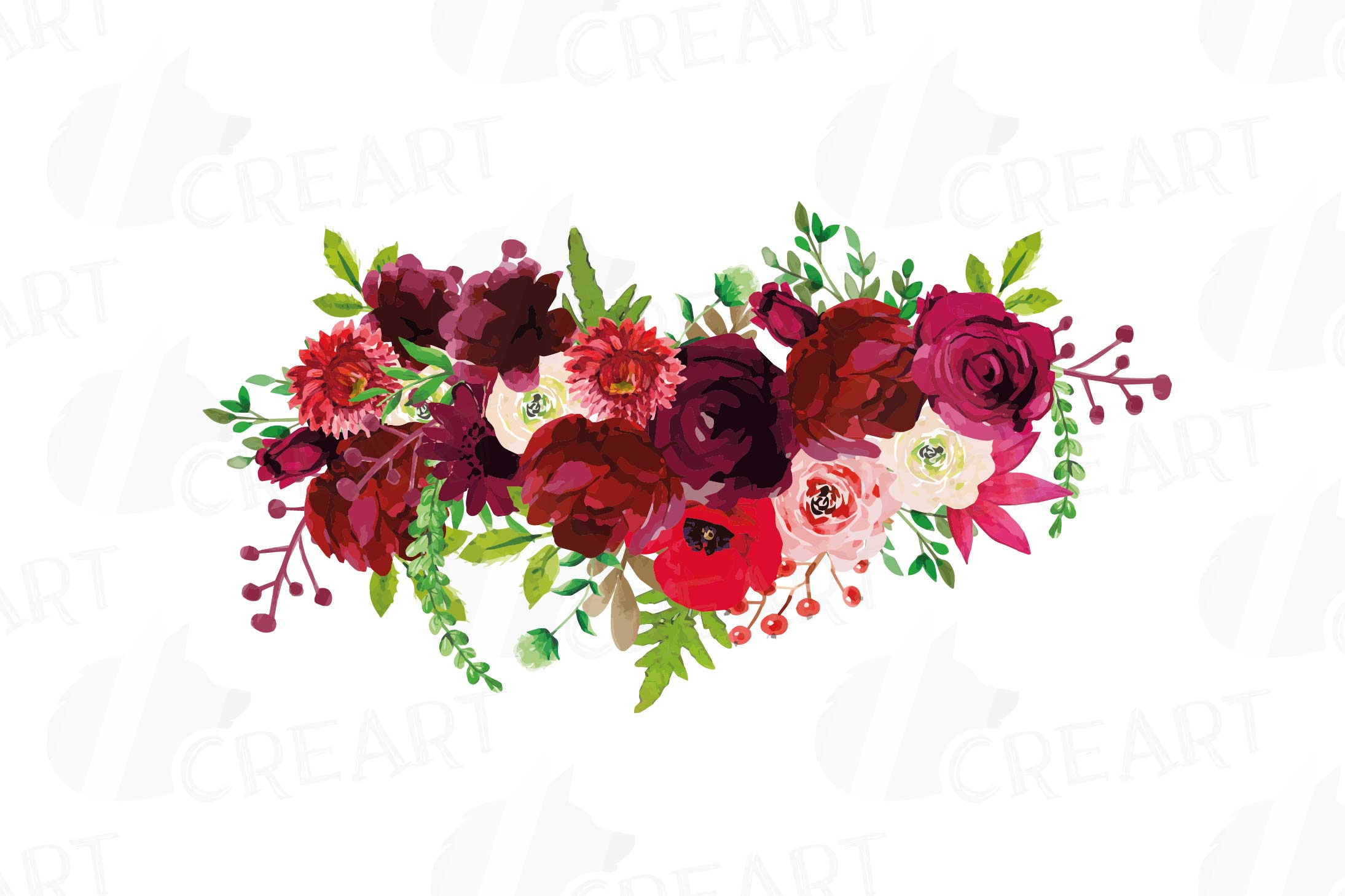 Boho flower bouquet clipart image freeuse stock Boho Burgundy Red Watercolor clip art, floral bouquets png image freeuse stock