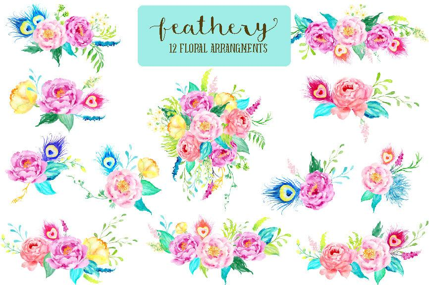 Boho flower bouquet clipart image free Watercolor Clipart Feathery Collection, Peonies and peacock feathers ... image free