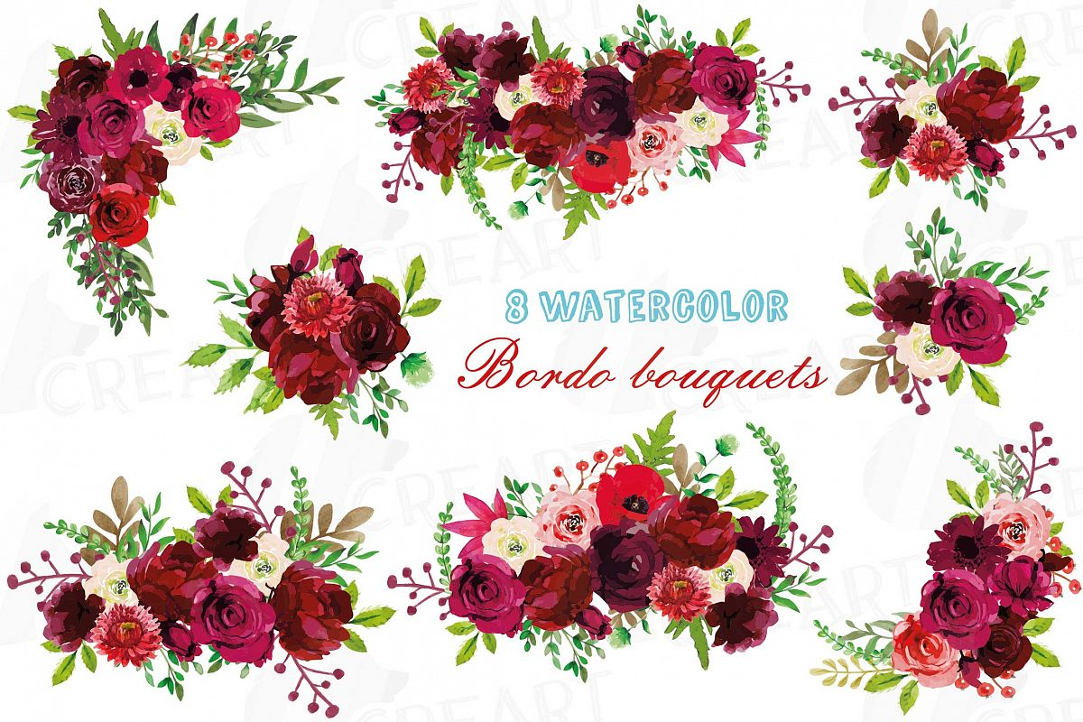 Boho floral clipart clipart library stock Boho Burgundy Red Watercolor clip art, floral bouquets png clipart library stock